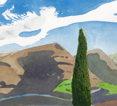Original watercolour painting of dry hills in Antequera Spain