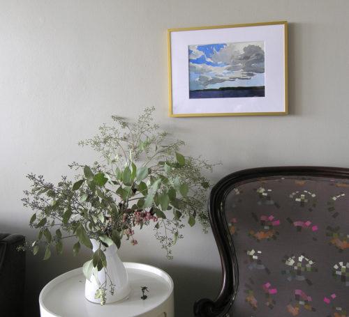 Framed cloud watercolor painting in situ