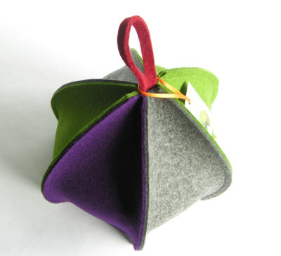 Colourful modern wool felt tea cosy with six sides, expandable