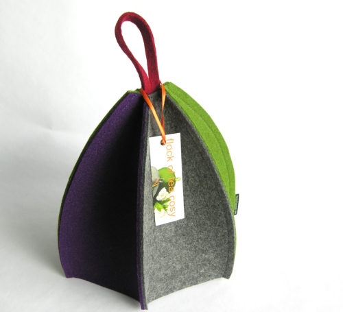 Colorful modern wool felt tea cozy expandable purple grey green