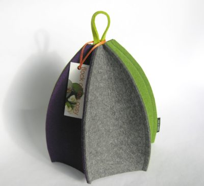 Modern wool felt tea cozy with expanding panels green grey purple