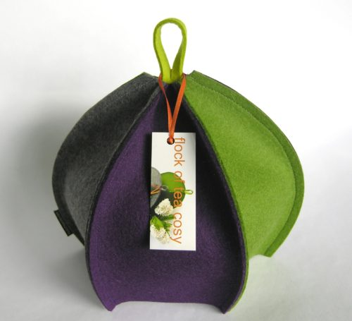 Tea cosy in modern minimalist design in thick wool felt