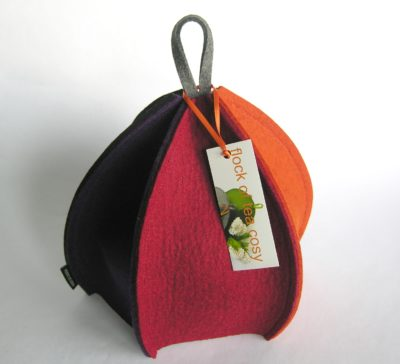 Colorful wool felt teacozy with clean elegant expandable design