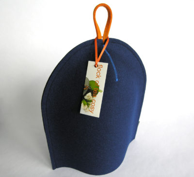 French press or Bodum coffee cosy in indigo blue wool felt modern design