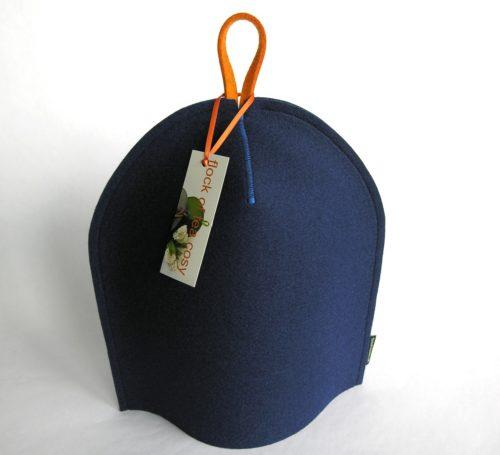 Modern minimalist coffee cosy in indigo blue wool felt