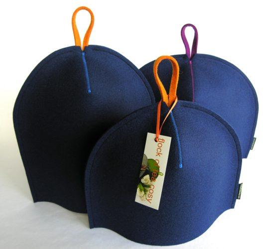 Three modern wool cosies in indigo blue