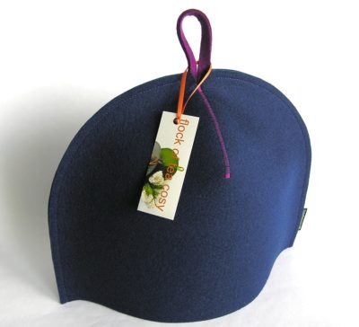 Modern wool felt tea cosy in indigo blue