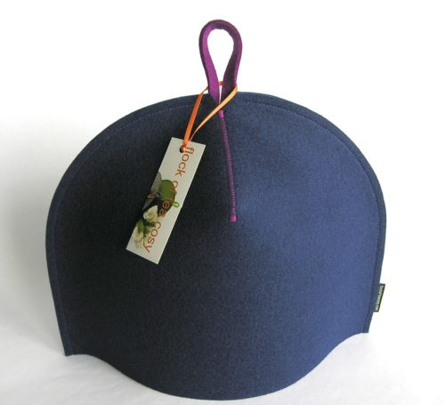 Minimalist wool felt tea cozy in Indigo blue wool felt for 4cup teapot