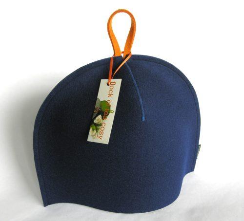 Modern tea cosy in indigo blue wool felt by flock of tea cosy