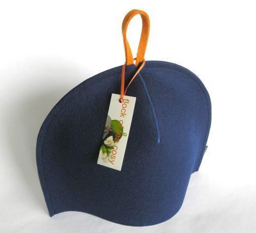 Minimalist modern design for tea cozy in indigo blue wool felt