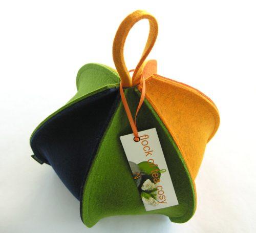 Modern colourful expandable wool felt tea cosy