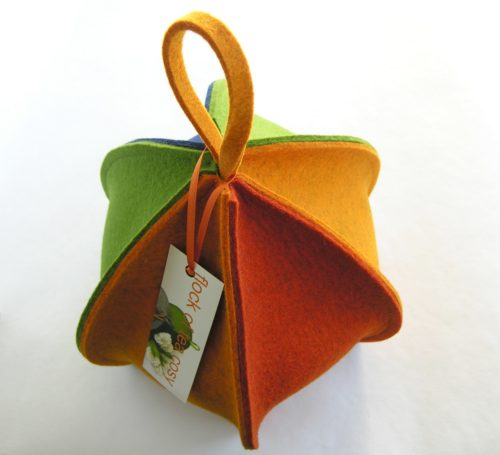 Colorful wool felt tea cozy expandable