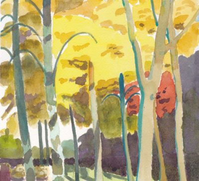 Original watercolour of autmn yellow leaves on little leaf linden trees