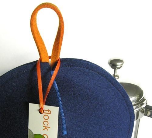 Zig zag stitching on french press coffee cozy in indigo blue wool felt for modern home