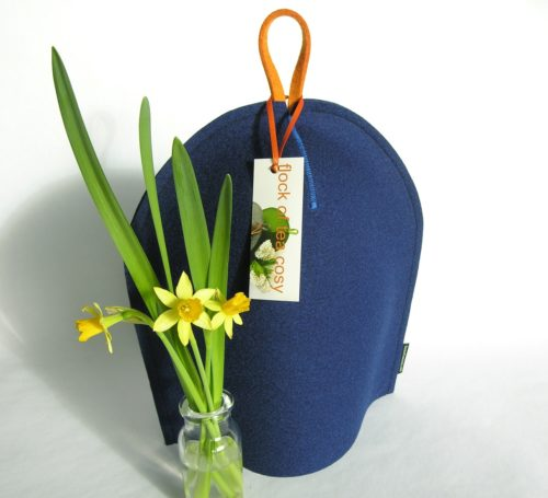 Indigo blue wool felt cozy for french press coffee maker from flock of tea cosy