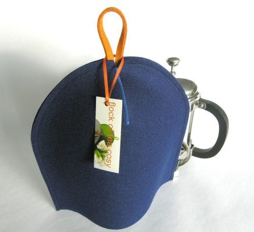 Modern coffee cosy for bodum french press in Indigo Blue wool felt