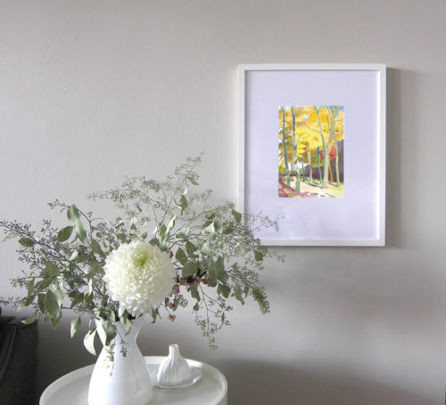 Watercolour of autumn yellow leaved lifftle leaf linden tree by Canadian artist