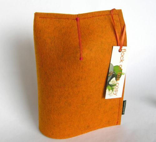 Mug Cosy modern design in Tangerine orange wool felt