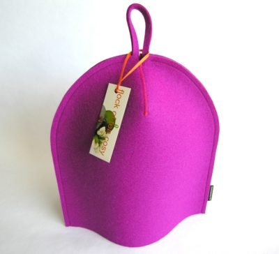 8cup modern magenta pink wool felt cozy for french press coffe maker by bodum chambord by flock of tea cosy