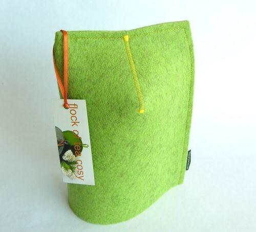 Pistachio Green wool felt cup warmer by flock of tea cosy