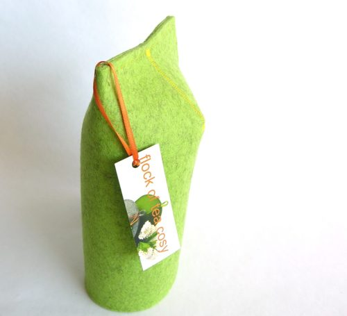 Pistachio green wool felt cup warmer