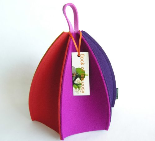 Modern six sided tea cosy in thick wool felt by flock of tea cosy
