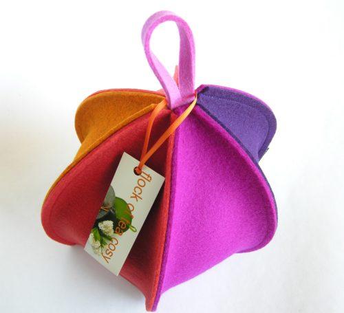 Modern small wool felt colorful tea cozy in magenta orange and purple