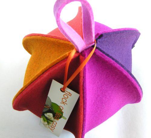 Multicolored six sided expandable tea cozy in wool felt eco friendly magenta purple orange