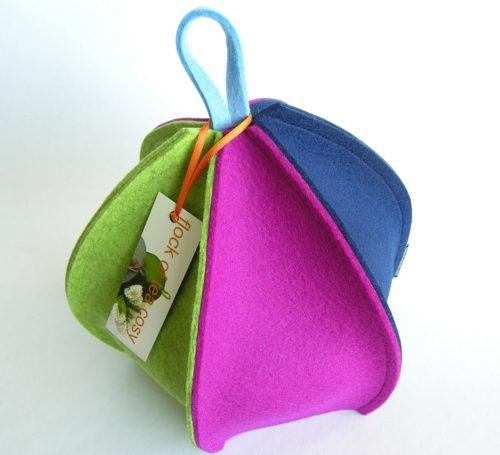Modern expandable wool felt tea cosy with six panels