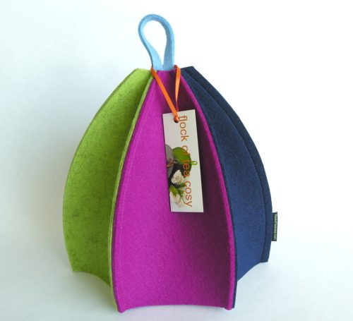 Wool felt exo friendly tea cozy in thick wool felt six paneled expandable by flock of tea cosy
