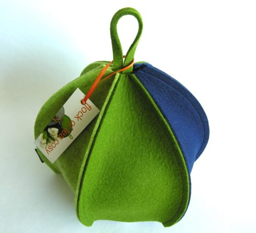 Modern minimalist wool felt tea cosy expandable by flock of tea cosy made in canada