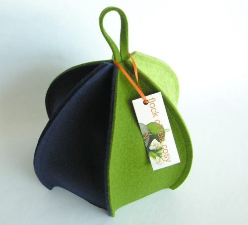 Modern minimalist manly masculine expandable tea cosy in thick wool felt by flock of tea cosy made in canada
