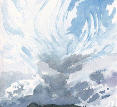 Original watercolour skyscape by Canadian artist Michaelle McLean