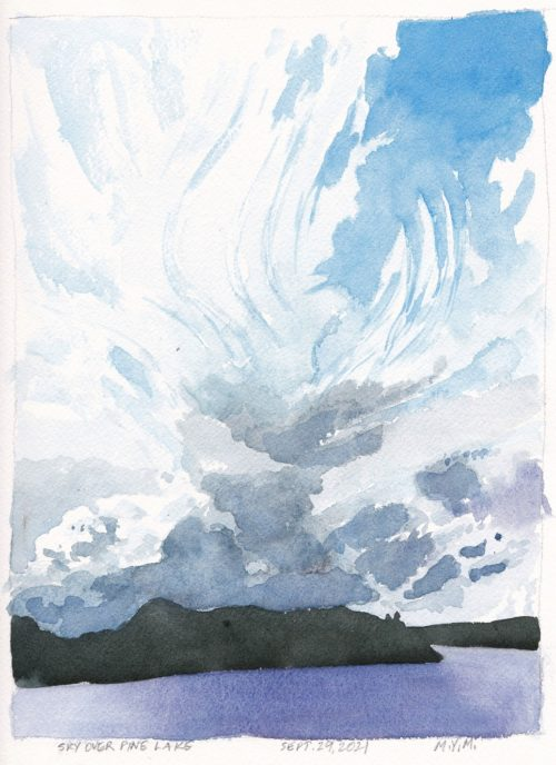 Small original watercolor painting of skyscape Toronto artist McLean